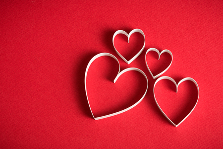 3d heart: 3D heart shape symbol on red background Stock Photo