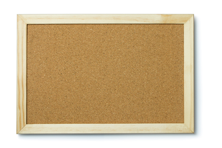 A blank cork notice board with frame