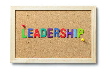 notice: Leadership word letters on cork notice board Stock Photo