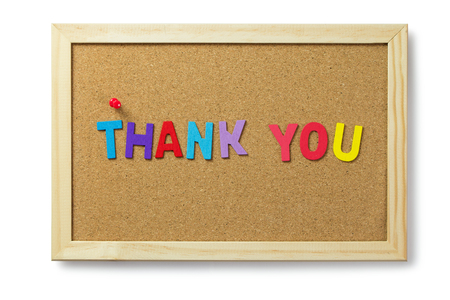 Colorful thank you word letters on cork notice board