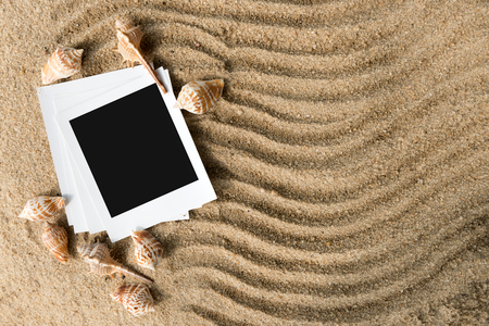 Summer beach photo frames with copy space