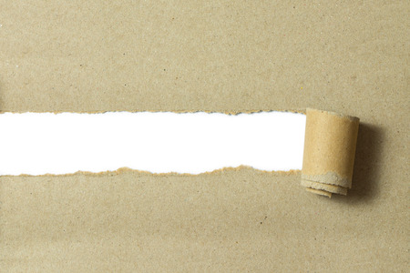 Torn brown color paper on white background with space for text