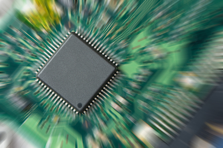 integrated circuit: Integrated circuit on pcb with zoom in effect