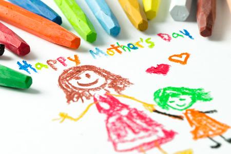 Kid tekening van de moeder en het meisje voor dag gelukkige moeder thema Stockfoto