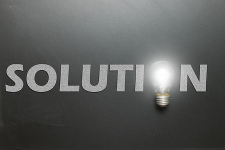 problems solutions: Solution word with the o replaced with a lightbulb