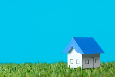 home loan: Miniature house model on green field for real estate industry