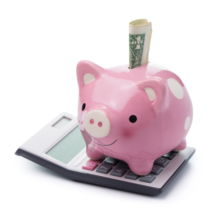 us money: Pink color piggy bank with US money and calculator