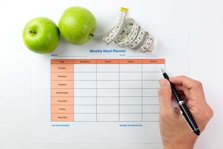 Weekly meal planning sheet with green apples, tape measurement and pen