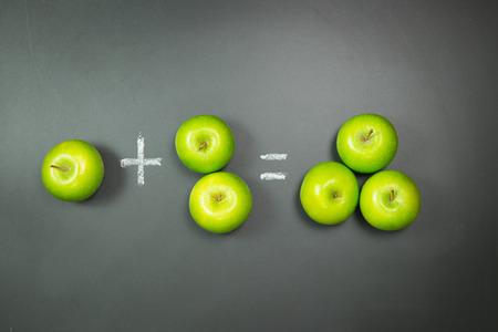 matematica: matemática simple usando las manzanas verdes en pizarra Foto de archivo