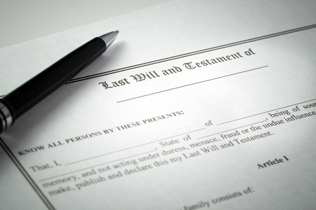 Ball pen on last will and testament document
