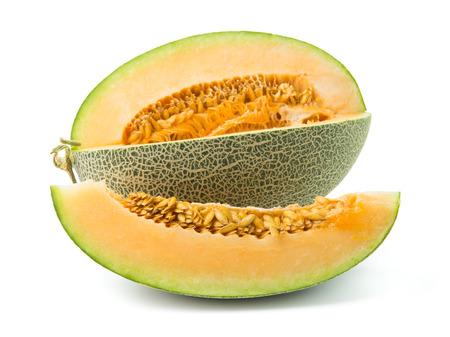 muck: Close up of orange cantaloupe melon on white background Stock Photo