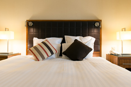 honeymoon suite: Interior of hotel bedroom with double size bed