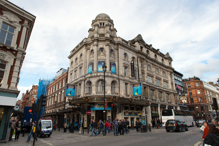 shaftesbury: London, England - 15 Oct, 2016: View of Gielgud theater building from outside at the corner of Rupert Street in London, England