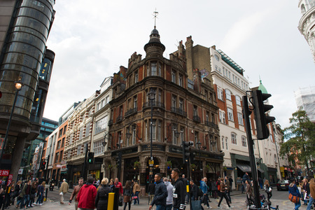 shaftesbury: London, England - 15 Oct, 2016: Street view at the junction of Denman St and Shaftesbury Ave at London, England during day time Editorial