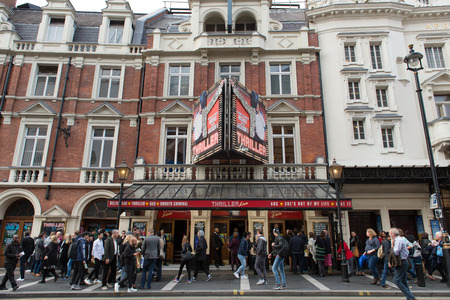 architectural exteriors: London, England - 15 Oct, 2016: People lining up to watch Michael Jacksons Thriller live at Lyric Theater located at London, England Editorial