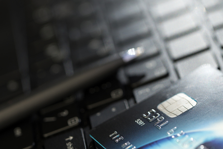 Credit card and laptop for shopping online concept