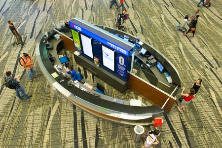 Singapore - June 28, 2016: UOB Bank currency exchange booth at Changi International airport, Singapore