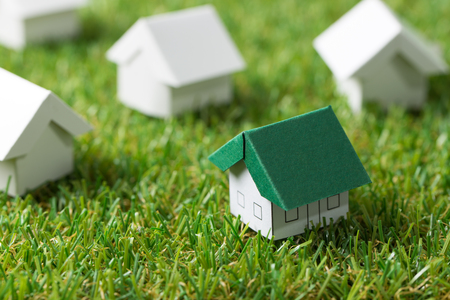 House with green roof among the white on the grass, for real estate property or eco friendly house concept