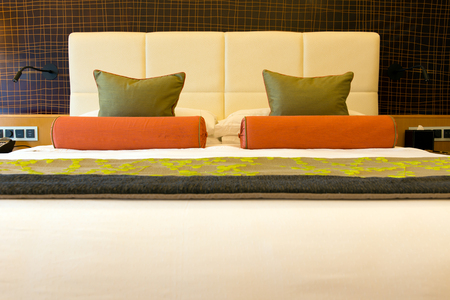 suite: Close up of clean and comfortable double bed Stock Photo