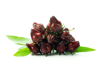 Pile of fresh roselle fruits over white background Stock Photo