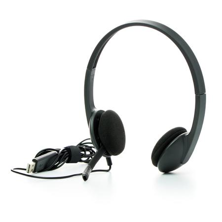 Black USB corded headset over white background