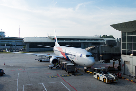 KLIA Sepang, Malaysia: 26, July 2017 - Malaysia airline airbus at the gate getting ready to take off at KLIA