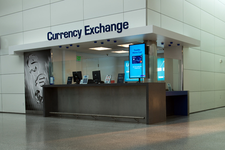 San Francisco, California, USA - 2 Sept, 2017: Currency Exchange booth at San Francisco International Airport.