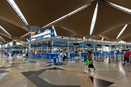 KLIA Sepang, Malaysia: 26, July 2017 - View of check in counter at KLIA.  KLIA is one of the major airports in South East Asia