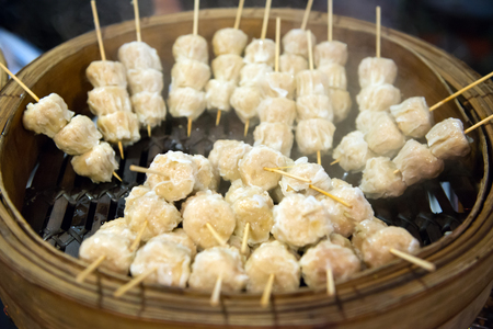 Chinese style dim sum in bamboo steamer