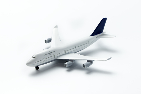 Close up of miniature airplane on white background Stock Photo