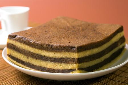 Chocolate or coffee layer cake served on white plate