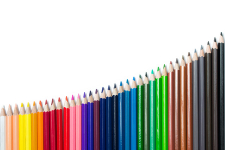 Spectrum color pencils set arranged in uptrend isolated on white background