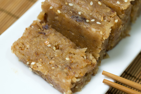 Traditional Chinese dessert made from peanut, sesame, flour, lard and fried shallot Banco de Imagens