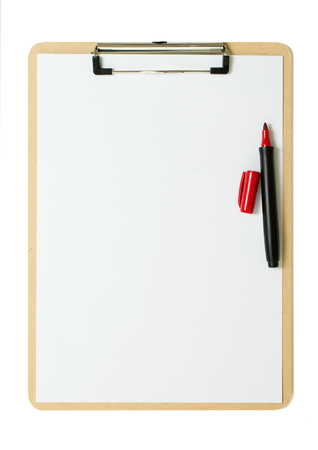 Clipboard with a blank white paper sheet and a red pen Stock Photo