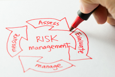 Risk management flow chart with a red pen Stock Photo