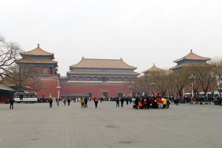 Beijing, CHINA - 23 MAR, 2018: The Meridian Gate of Forbidden City in Beijing, China 新聞圖片