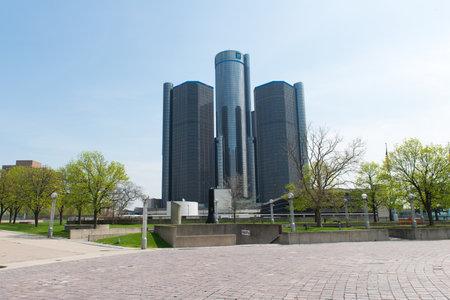 Detroit Michigan, USA - 6 MAY, 2018: GM Renaissance center, rencen in Detroit Michigan USA, a headquarter for GM 新聞圖片