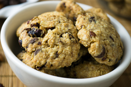Homemade healthy cranberry mixed with nuts oat cookie Banco de Imagens