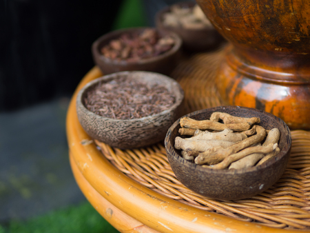 Traditional Indonesian or Thailand spices used in spa massage treatment. Stock Photo - 103668772