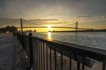 Sunrise at Ambassador bridge that connect between Detroit, US with Canada on Detroit river