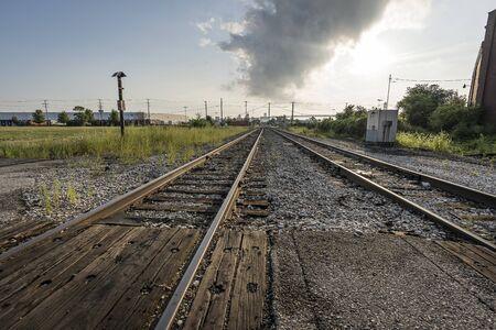 Landscape vintage of railroad tracks in Detroit, Michigan Фото со стока