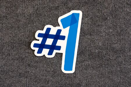 NUmber one blue color icon on blackboard