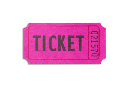 One purple color paper ticket isolated on white background