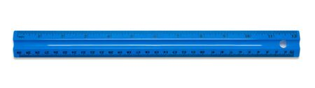 Blue plastic school ruler isolated on a white background