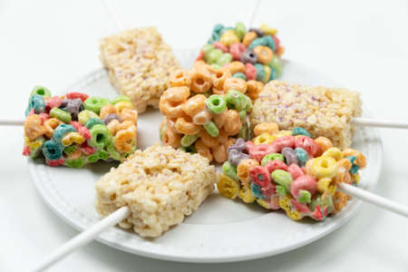 White and colorful marshmallow square bar or rice crispy treats