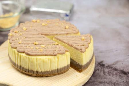 Homemade taro or yam cheese cake on wooden board