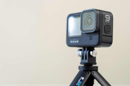Michigan, USA - Oct 11, 2020: New GoPro Hero 9 black action camera on tripod