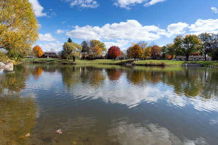 Fall colors along the river in rural landscape, Michigan, United States Фото со стока