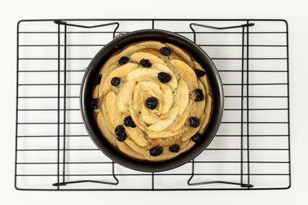Top view of round apple cinnamon cake or bread with dried cranberries on cooling rack 版權商用圖片