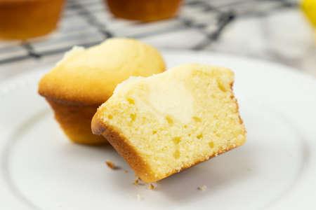 Homemade lemon cream cheese filling cupcake ready to serve